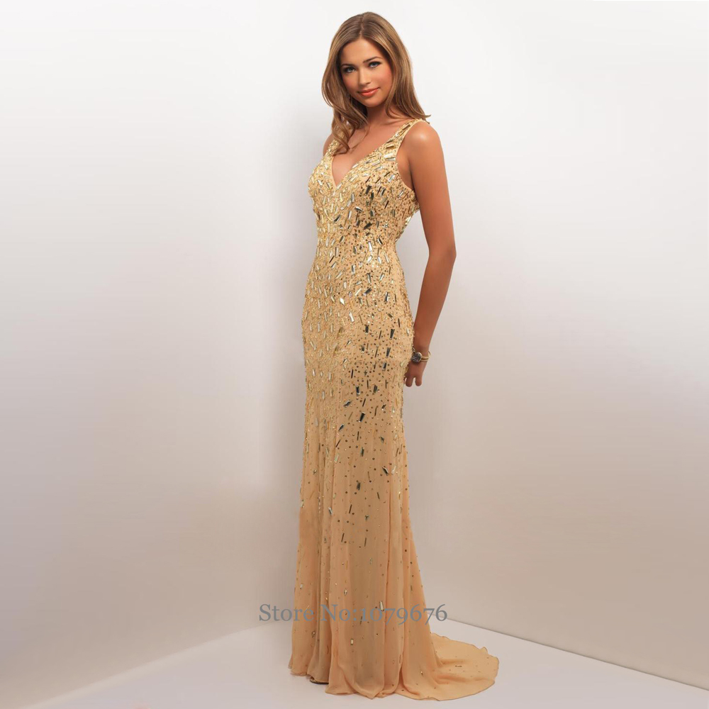 Sexy luxury long gold evening dress v neck crystal beads for Long straight wedding dresses