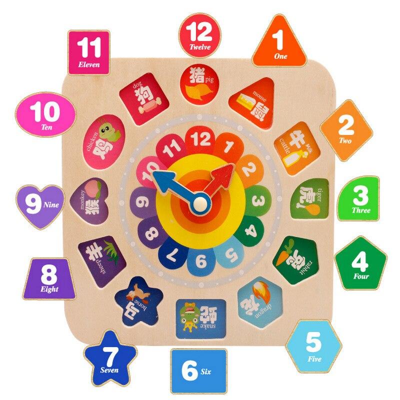 Baby Klok Erkenning Tijd Vroegschoolse Speelgoed, Kinderen Intelligentie, Houten Diy Kralen Bouwstenen Speelgoed