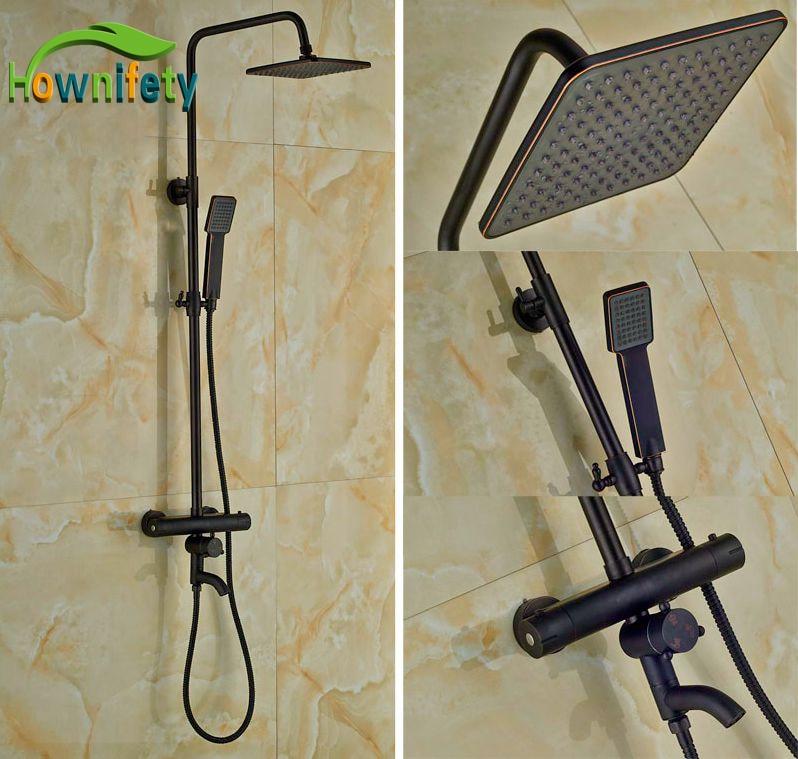 Luxury Thermostatic Shower Bath Rainfall Shower Set Oil Rubbed Bronze Shower