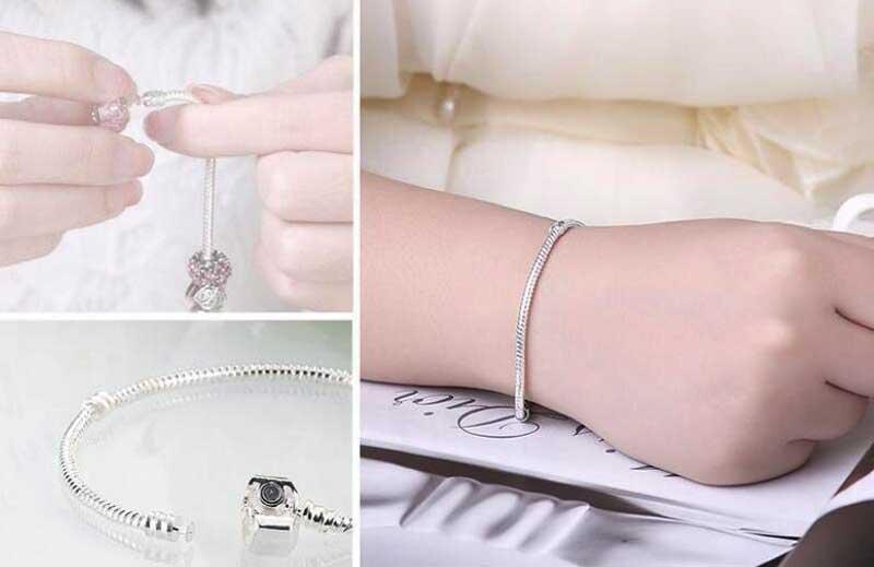 5bb2034ac306 BISAER genuino pulsera de plata 925 de joyería de cadena de serpiente  brazalete y pulsera de