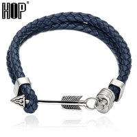 HIP Blue Color Double Layer Genuine Leather Stainless Steel Arrow Bracelet Anchor Bracelet For Men Jewelry