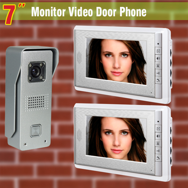 7 Inch 2-Monitor Video Door Phone Intercom Doorbell System Aluminum Alloy night vision C ...