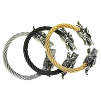 316l Stainless Steel Dragon Head Cuff Bracelets Bangles For Men With Twist Wire Cable Bracelet Fashion