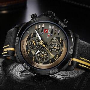 Image 4 - Naviforce homens relógios de couro genuíno esporte relógio de pulso masculino marca superior luxo à prova d24 água 24 horas data relógio de quartzo reloj hombre