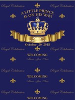 custom gold royal blue prince crown curtains baby shower backdrops High quality Computer print party background