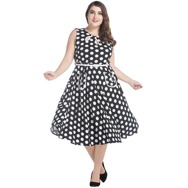7705bde5e5 7XL Mulheres Retro Vestido Midi Plus Size Audrey Hepburn Bolinhas a linha  de Vestido Grande Tamanho