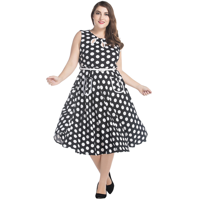 50f0115516 7XL Women Retro Midi Dress Plus Size Audrey Hepburn Polka Dot A-Line Dress  Big Large Size Casual Party Dress Black Ropa Mujer