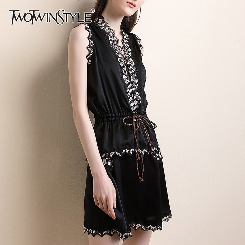 TWOTWINSTYLE Embroidery Lace Patchwork Women Suit Sleeveless V Neck Lace Up Tops High Waist Mini Skirt Female Two Piece Set 2019