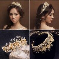 Baroque Style Retro Beaded Crown Tiara Bridal Gold Leaves Hair Jewelry Handmade Pearls Crown