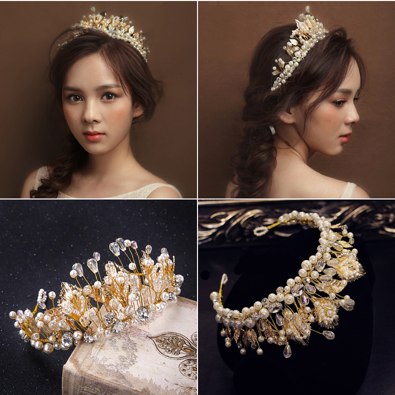 Baroque Style Retro Beaded Crown Tiara Bridal Gold Leaves Hair Jewelry Handmade Imitation Pearls Crown