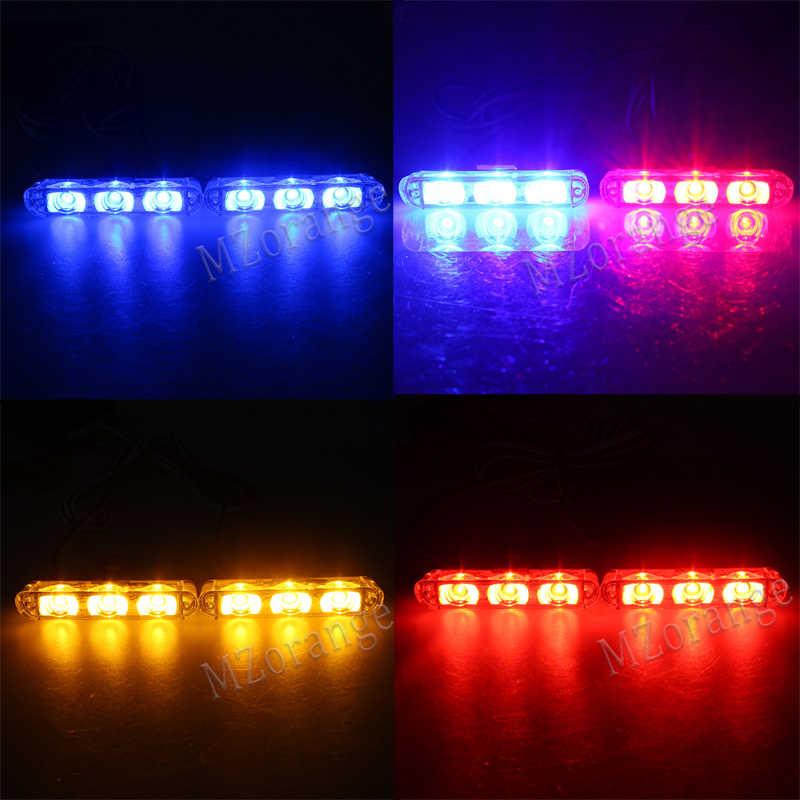 MZORANGE 4*3 светодиодный мерцающий светильник Полиция чрезвычайных гриль Предупреждение светильник 12V автомобиль мотоцикл пожарный автомобиль скорой помощи буфер светодиодный вспышка светильник