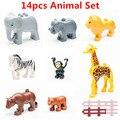 14 шт./лот! животных Зоопарка Комплект DIY Большие Строительные Блоки, которые Поддерживаются Образовательные Игрушки KidsToys Brinquedos