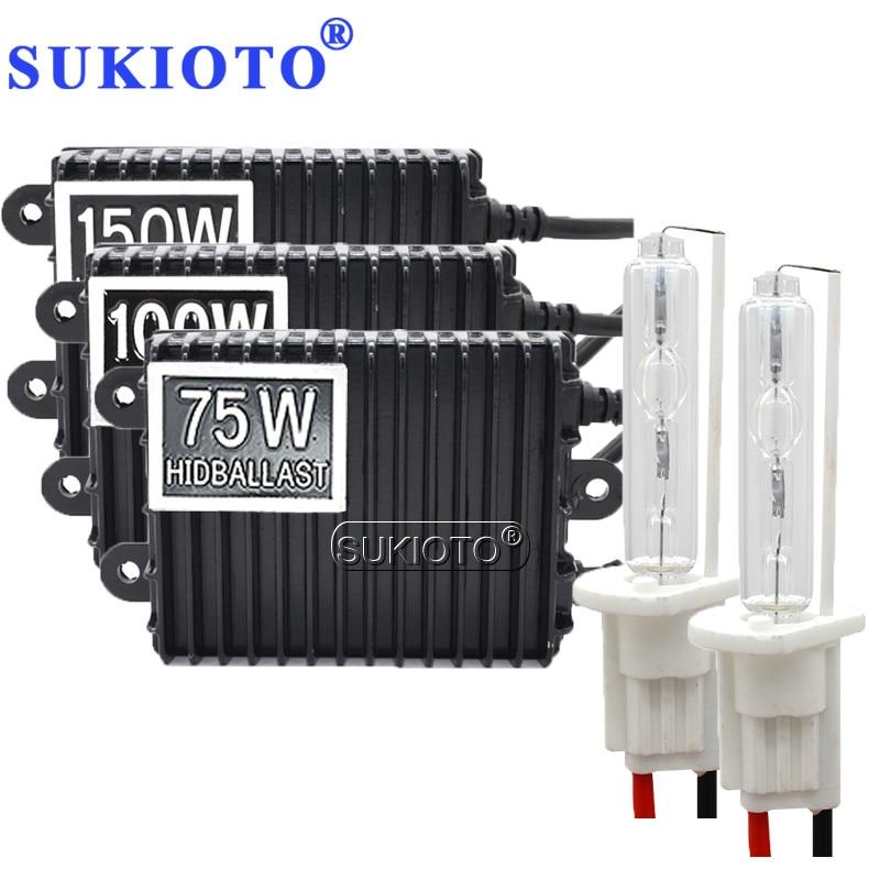 SUKIOTO 12 V 75 W 100 W 150 W ballast HID xénon kit H1 H3 H4 H8 H11 D2S D2H hid xénon kit haute puissance métal H7 xénon hid ballast kit
