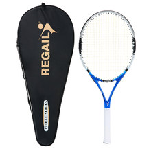1Pc Carbon Tennis Racket Indoor Outdoor Practice Training Tennis Racquet with Cover Bag Sports Fitness Blue Tennis Racket(China)