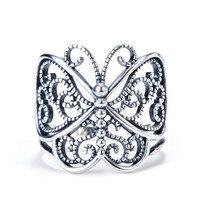 GNJ8897 100% Gerçek Saf 925 Ayar Gümüş Kelebek Wrap Yüzükler Antik Gümüş Parti Yüzük Moda Takı Kadınlar Için