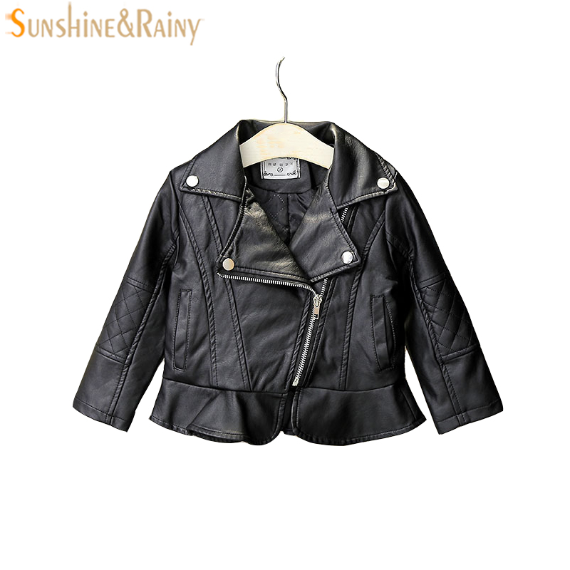 Fashion Baby Girls Leather Jackets Flounce Girls PU Leather Coat Dress Spring Autumn Kids Jackets Children Outerwear Clothes