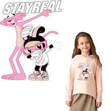 Pink Panther patch iron on transfer for clothing heat cartoon stickers clothes strange thing diy parches ropa