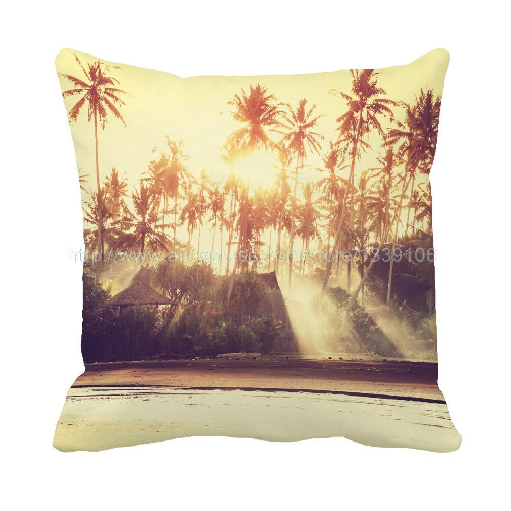 Charming Golden Beach print custom personalization cushion home decor pillow sofa decorative pillows for couch  throw pillow