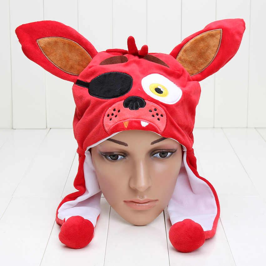 8 estilos fnaf cinco noites no freddy brinquedos cosplay chapéu macio recheado boné freddy foxy chica mangle bonnie plush boné fnaf figura brinquedos