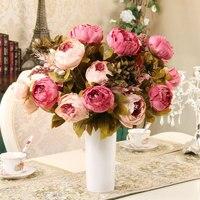 13 головок/букет Элегантный Искусственный Пион цветы из шелка Главная Свадебная вечеринка Декор Искусственный букет украшения цветы