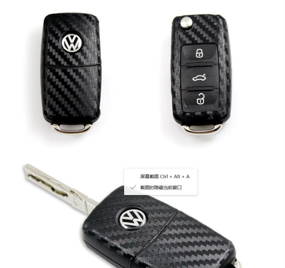 Car Styling Carbon Fiber Car Key Stickers For Volkswagen VW Polo Passat B5 B6 Golf 4 5 6 Mk6 Tiguan Gol CrossFox Plus Eos