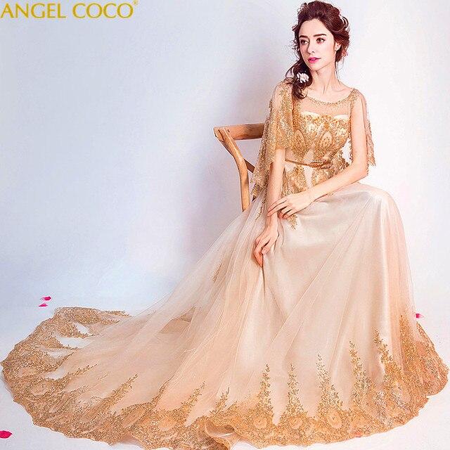Luxury Noble Gold Maternity Evening Dresses For Pregnant Abendkleider Crystals Elegant Women Long Prom Dresses For Wedding Party