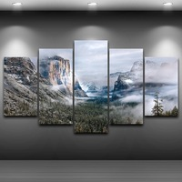 Spray Oil Painting Decoration Framed wall art up picture Artistic Print Drawing on Canvas HD Printed Home Decor Mountains AE0569