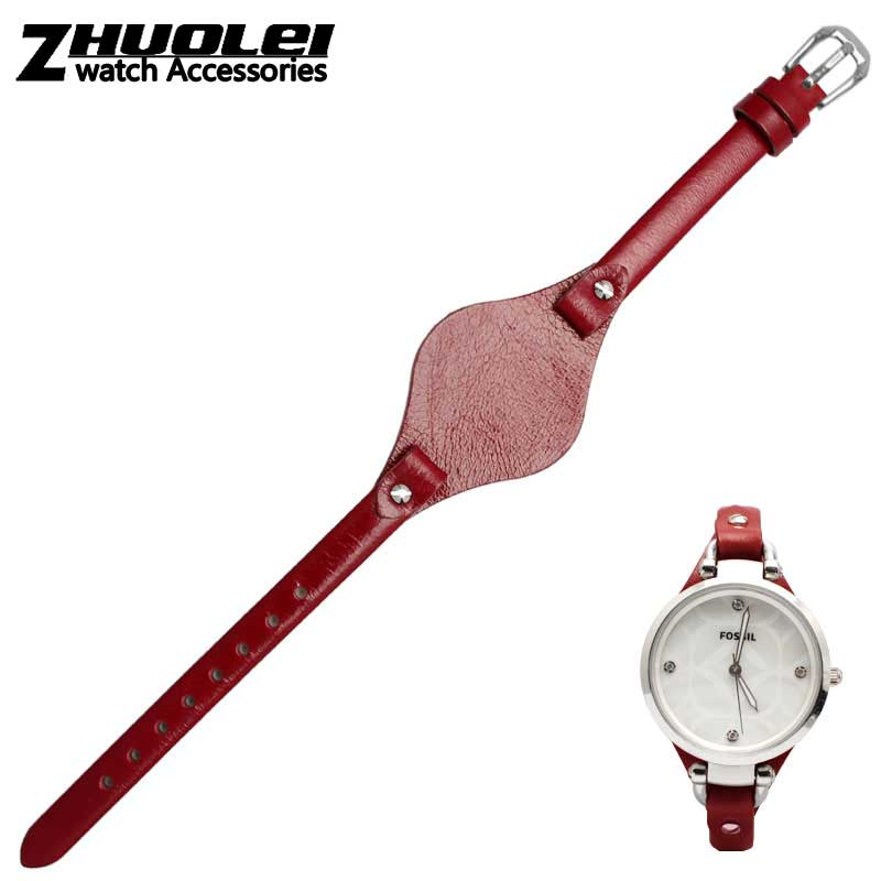 for Fossil cow leather watch strap fit fossil ES4119 ES4176 ES3262 ES3077 ES2830 ES3262 ES3060 watchband series ladies 8mm Gato fossil georgia es3060