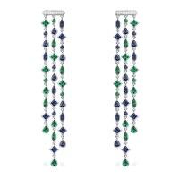 GODKI Luxury Trendy Long Geometry Tassels Drop Full Mirco Paved Cubic Zirconia Engagement Wedding Drop Earring