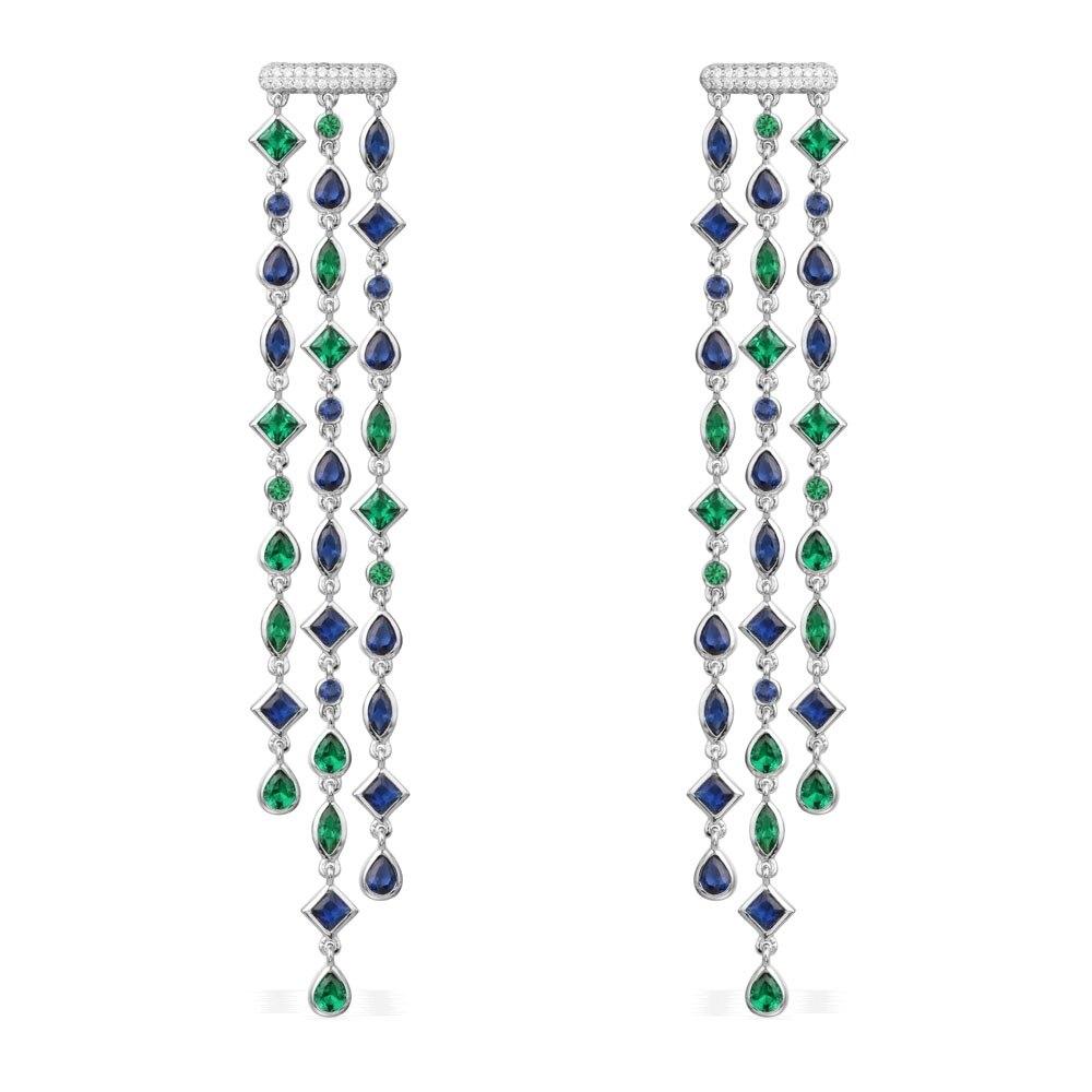 GODKI Luxury Trendy Long Geometry Tassels Drop Full Mirco Paved Cubic Zirconia Engagement Wedding Drop Earring Fashion Jewelry