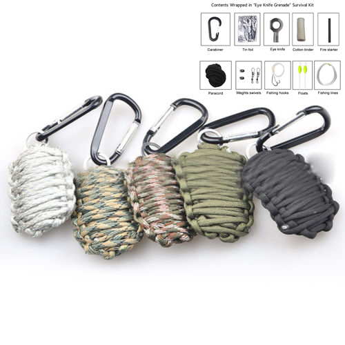EDC GEAR 2017 new 8 in 1 survival cord 550 paracord fishing tools key chain Carabiner