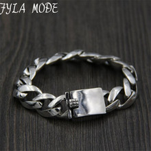 925 Sterling Silver Bracelet Christmas Gifts Vintage 20cm 22cm S925 Solid Thai Silver Link Chain Bracelet Men Women Jewelry