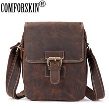COMFORSKIN Brand Premium Genuine Cray Horse Leather 2018 New Arrivals Mens Messenger Bag Hot Sales Cowhide Male Cross-body