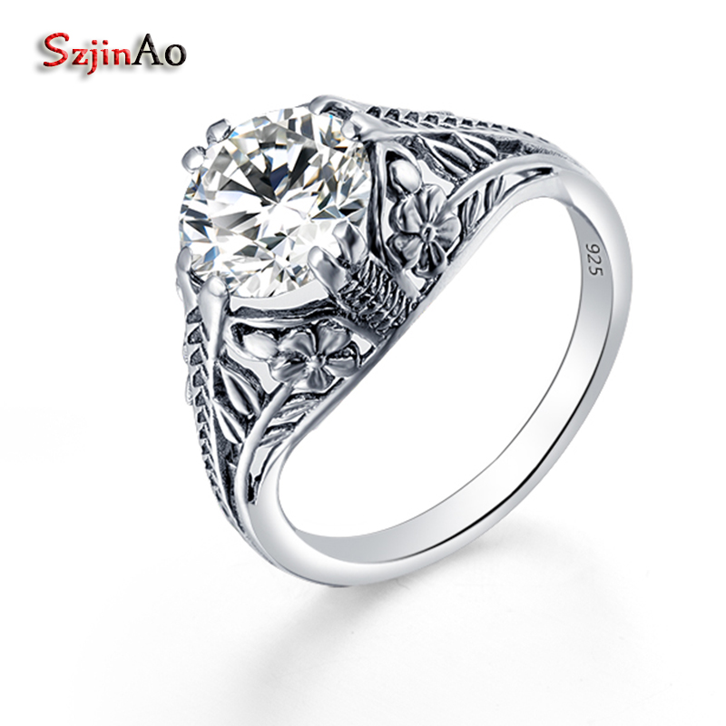Szjinao New Arrival Victoria White Cubic Zirconia 925 Sterling Silver Rings for Women Pattern Classic Vintage