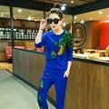 Venta caliente 2017 pantalones de primavera y verano ropa femenina traje de pavo real con lentejuelas trajes de los chándales de 2 unidades de las mujeres femeninas