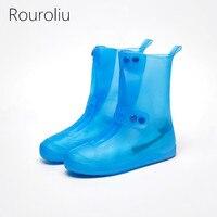 Rouroliu Men Women Fashion PVC Waterproof Shoes Covers Light Comfortable Non Slip Rainproof Mid Calf Overshoes RB245