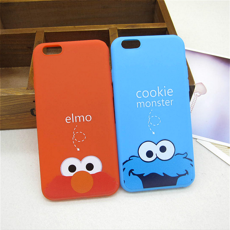 Hot Sale Soft TPU Silicon Cute Cartoon Elmo Back Cover for Apple iPhone 6 6s 5 5s SE Funny Cookie flexible Phone Case Shell Skin