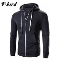 T Bird Hoodies Men Cardigan Sweatshirts Solid Color Fashion Brand Men S Hoodie Autumn Winter Pullover