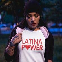 Vsenfo Latina Power T Shirt Women Cotton Short Sleeve Feminis T Shirt For Ladies Girls Power Womes T Shirt Summer Crewneck Tops