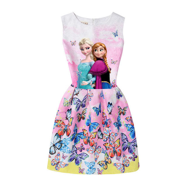2017 Summer Style Girls Elsa Anna Princess Dresses Girl Butterfly Printed Sleeveless Formal Girl Dresses Teenagers Party Dress
