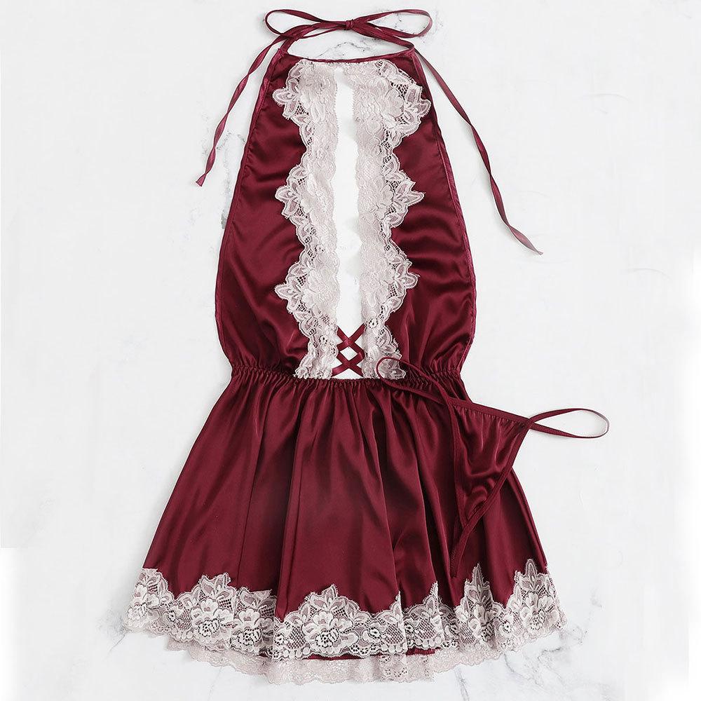 Lisacmpvnel Halter Bandage Type Crossing Sexy Women Nightdress G-String Twinset Sleepwear Cute Lace Deep V Lingerie