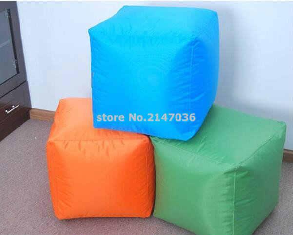 Otomano dobrável, praça orange saco de feijão otomano e pés, cadeira dos miúdos ao ar livre à prova d' água