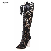 Women Fashion Lace Up Cut Out High Crystal Square Heel Knee High Boots Open Toe Party