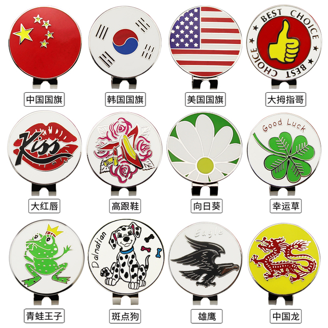 """12 Kinds Golf Ball Mark with Golf Cap Clip Alloy Professional 1.18"""" Wholesale Golf Marker Drop Ship"""