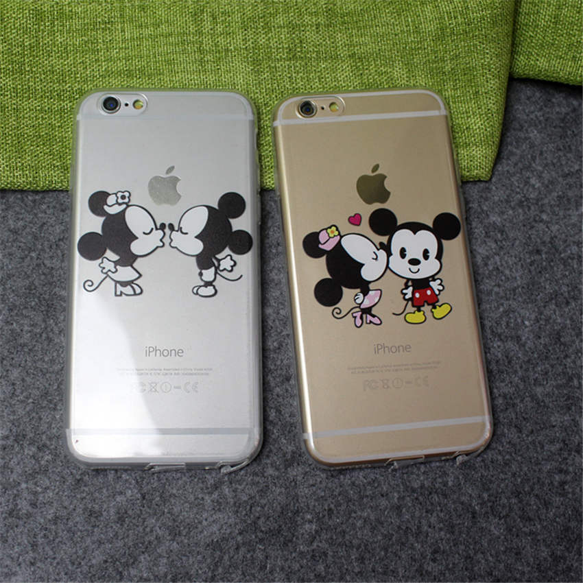 100 pcs Wholesale Kiss Mickey Minnie Lovers mouse Case For iPhone 5 5s se 6 6s 6plus Cases TPU Silicone Covers Capinha hoesjes