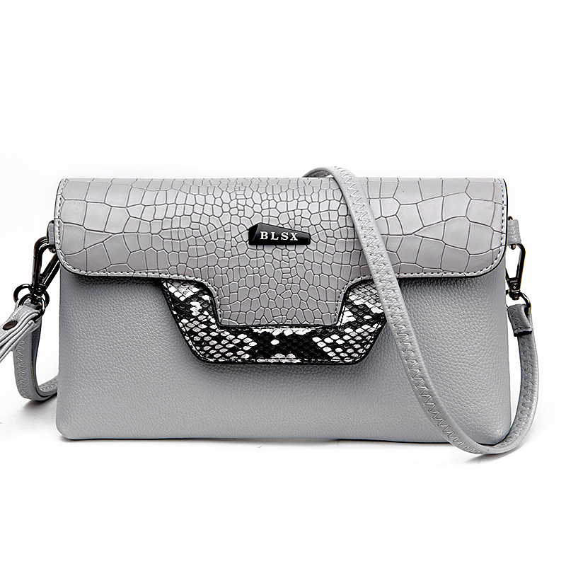 Fashion Stone Pattern Small Envelope Black Women Shoulder Messenger Bags Day Clutches Serpentine Decoration Evening Clutch