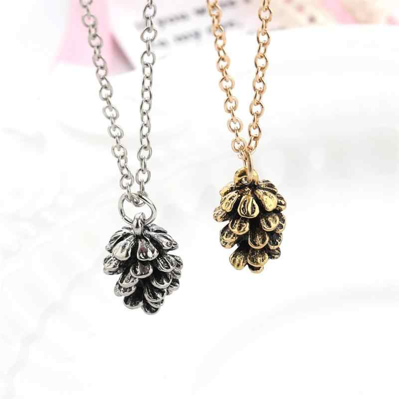 2019 New Autumn Mini Acorn Pine Cone Pendant Necklaces Christmas Sweater Chain Pinecone Jewelry Suspend Collar Collier Gift