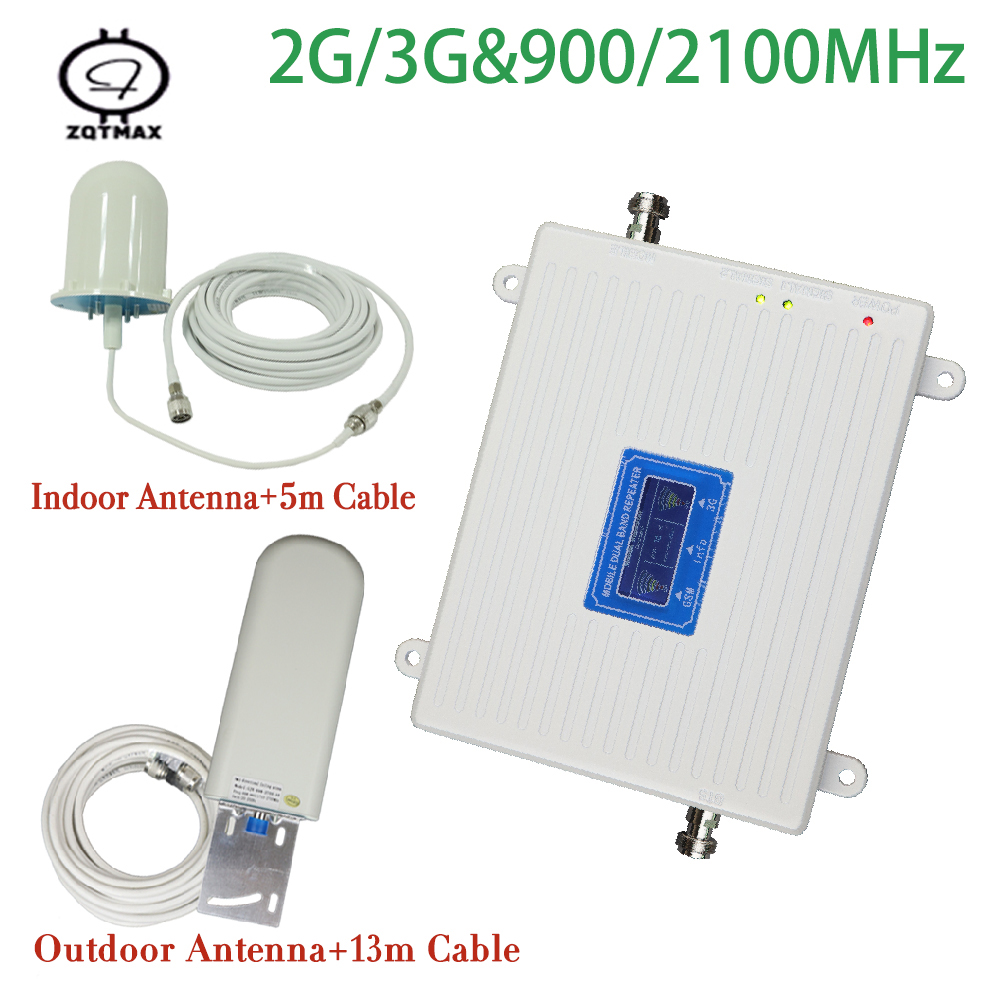 GSM 3G Cellular Signal Repeater GSM 900 3G UMTS 2100 Dual Band Cellphone Amplifier 900mhz 2100mhz 70dB Mobile Internet Booster