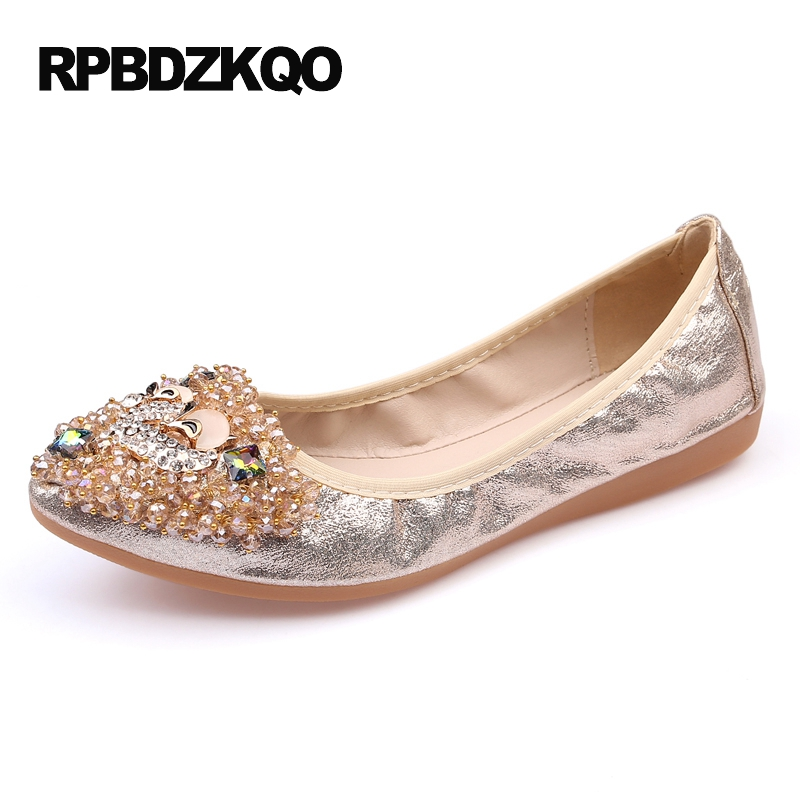 Flats Size 41 Ballerina Comfortable Pointed Toe Large Silver Gold Metal 10 Wedding Ballet Shoes Elastic Rhinestone Crystal 11 women ladies flats vintage pu leather loafers pointed toe silver metal design