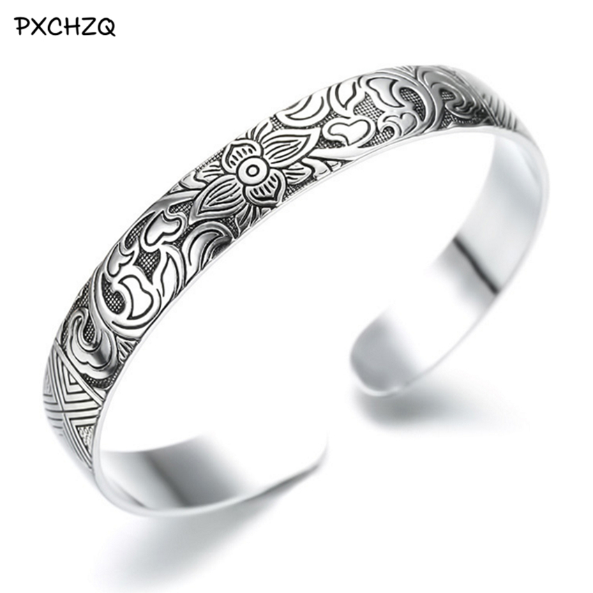 Retro-Bracelet Thai-Silver Colour Black Quality Lotus Model Popular Flower Gifts Female